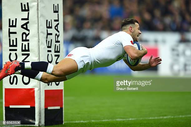 Danny Care of England dives over to score the opening try during the RBS Six Nations match between France and England at the Stade de France on March...