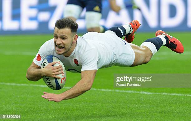 Danny Care of England dives over to score the opening try during the RBS Six Nations match between France and England at Stade de France on March 19...