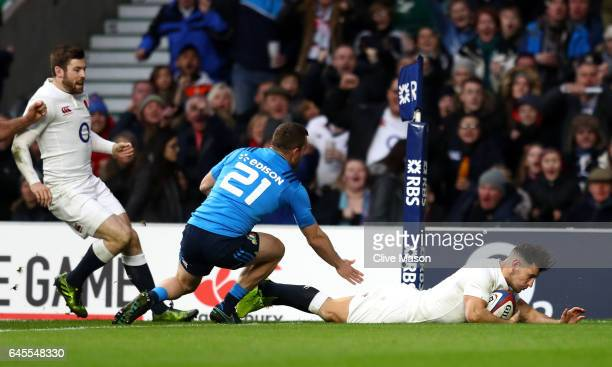 Danny Care of England dives over to score their second try during the RBS Six Nations match between England and Italy at Twickenham Stadium on...