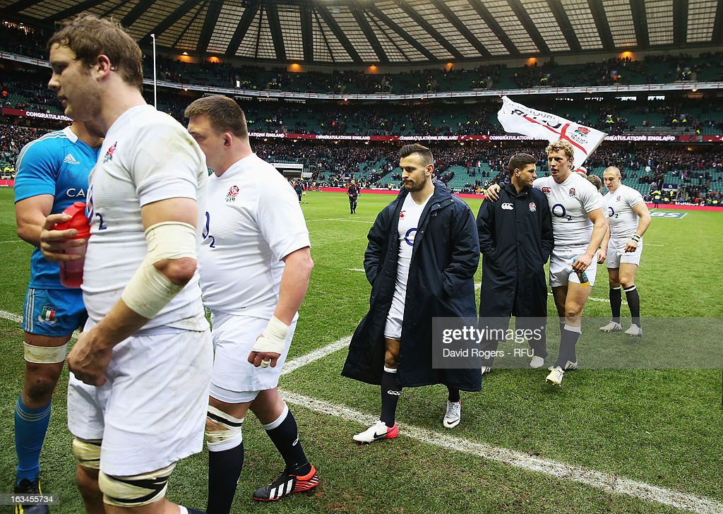 Danny Care of England (C) is seen at the end of the match during the RBS Six Nations match England and Italy at Twickenham Stadium on March 10, 2013 in London, England.