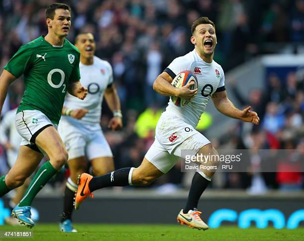 Danny Care of England runs through to score a try during the RBS Six Nations match between England and Ireland at Twickenham Stadium on February 22...