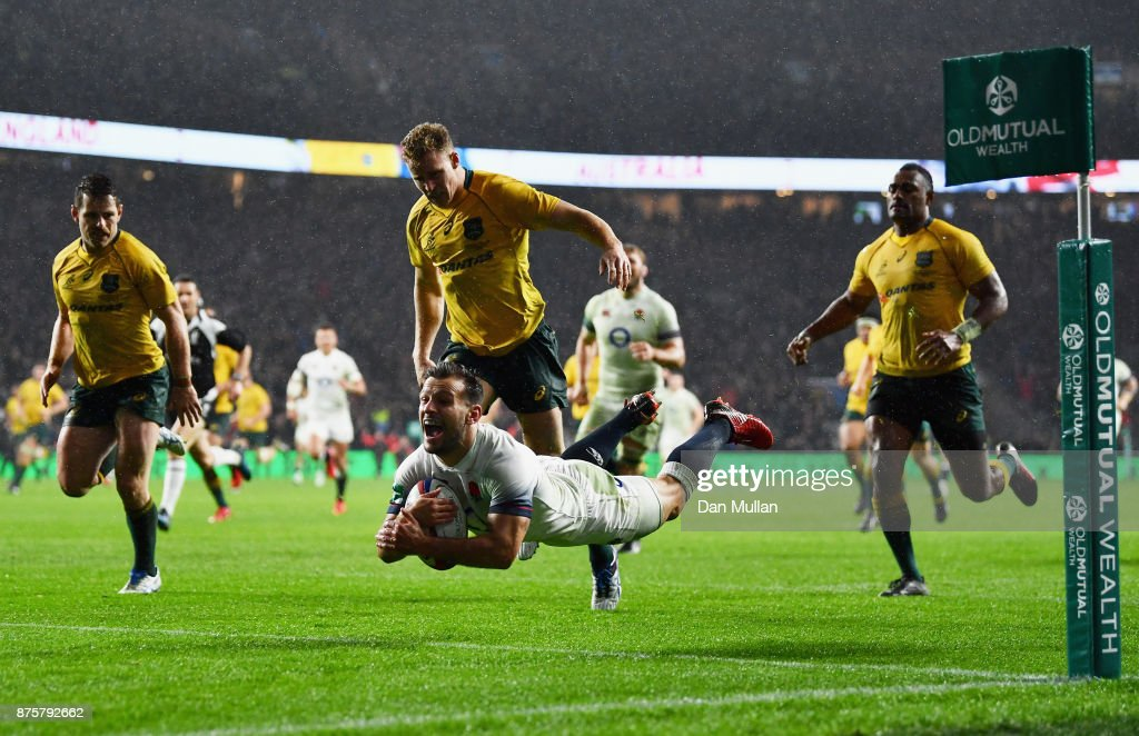Danny Care of England scores a try during the Old Mutual Wealth Series match between England and Australia at Twickenham Stadium on November 18, 2017 in London, England.