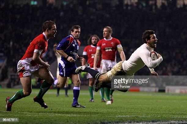 Danny Care of England scores a try during the RBS 6 Nations Championship match between England and Wales at Twickenham Stadium on February 6, 2010 in...