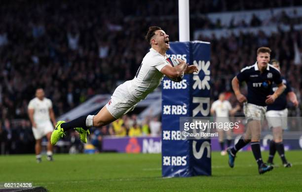 Danny Care of England scores his sides seventh try during the RBS Six Nations match between England and Scotland at Twickenham Stadium on March 11...