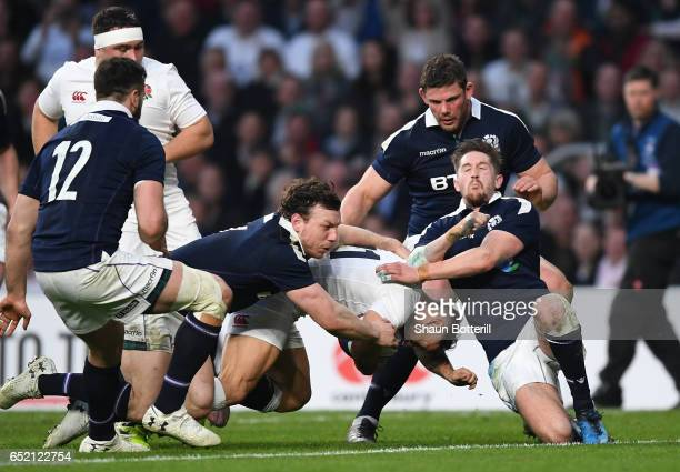Danny Care of England scores his sides sixth try during the RBS Six Nations match between England and Scotland at Twickenham Stadium on March 11 2017...
