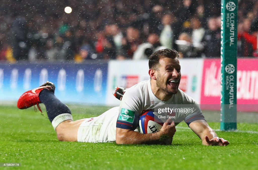 Danny Care of England scores his teams fourth try during the Old Mutual Wealth Series match between England and Australia at Twickenham Stadium on November 18, 2017 in London, England.