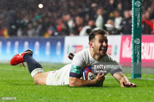 Danny Care of England scores his teams fourth try during the Old Mutual Wealth Series match between England and Australia at Twickenham Stadium on...