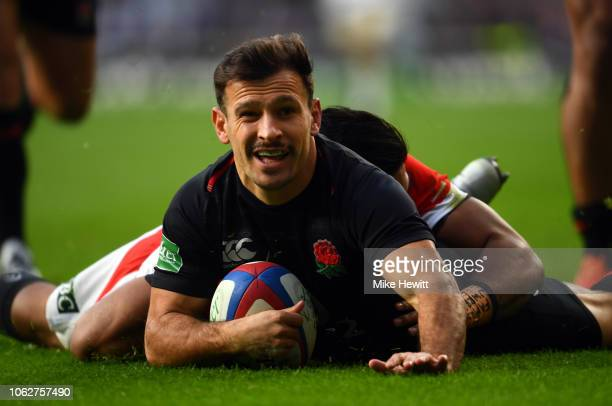 Danny Care of England touches down for the first try during the Quilter International match between England and Japan at Twickenham Stadium on...