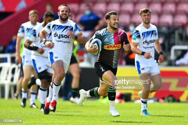 Danny Care of Harlequins breaks away before scoring his side's second try during the Gallagher Premiership Rugby match between Harlequins and Bath at...