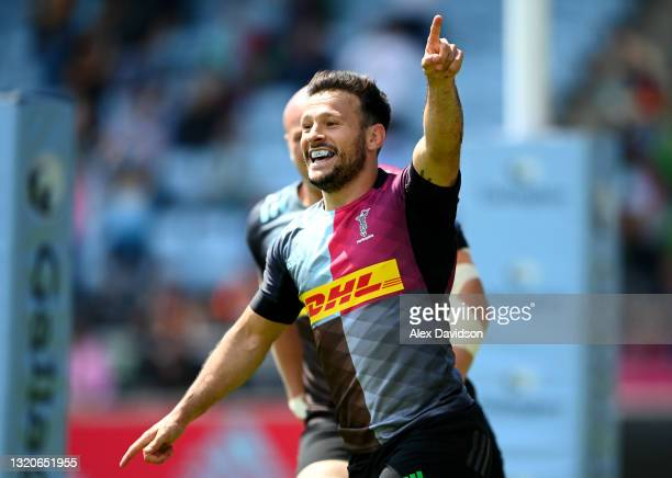 Danny Care of Harlequins celebrates after scoring his side's second try during the Gallagher Premiership Rugby match between Harlequins and Bath at...