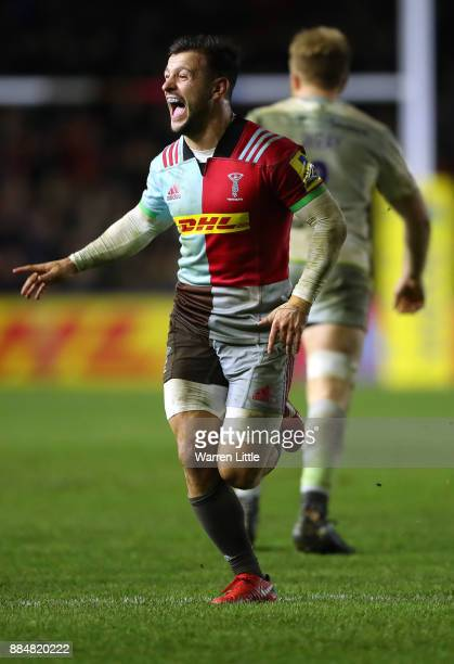 Danny Care of Harlequins celebrates winning the Aviva Premiership match between Harlequins and Saracens at Twickenham Stoop on December 3 2017 in...