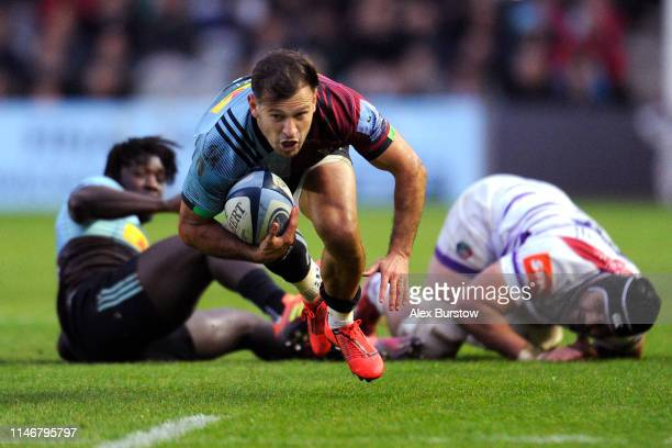 Danny Care of Harlequins falls after making a break during the Gallagher Premiership Rugby match between Harlequins and Leicester Tigers at...