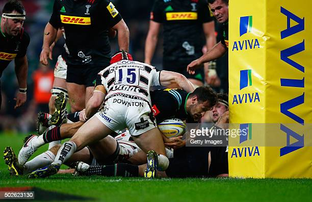 """Danny Care of Harlequins goes over to score his teams second try during the Aviva Premiership """"Big Game 8"""" match between Harlequins and Gloucester at..."""