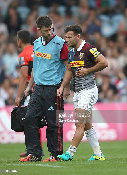 Danny Care of Harlequins leaves the pitch after being injured during the Aviva Premiership match between Harlequins and Saracens at Twickenham Stoop...