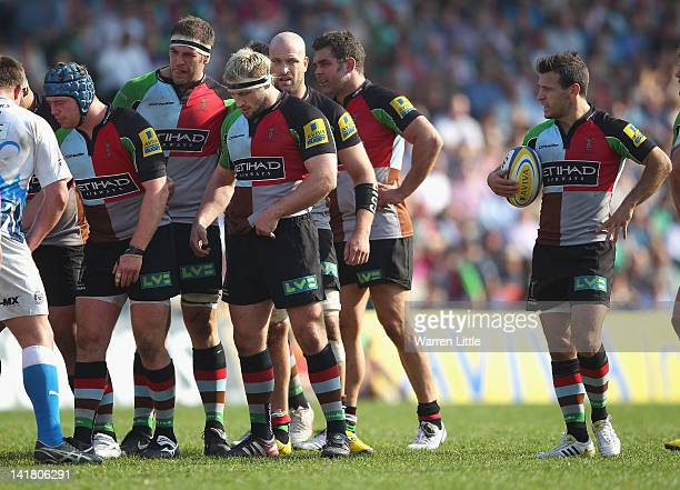 Danny Care of Harlequins looks on during the Aviva Premiership match between Harlequins and Bath Rugby at Twickenham Stoop on March 24 2012 in London...