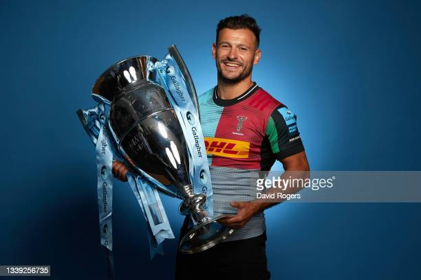 Danny Care of Harlequins poses for a photo with the Gallagher Premiership Trophy during the Gallagher Premiership Rugby Season Launch at Twickenham...