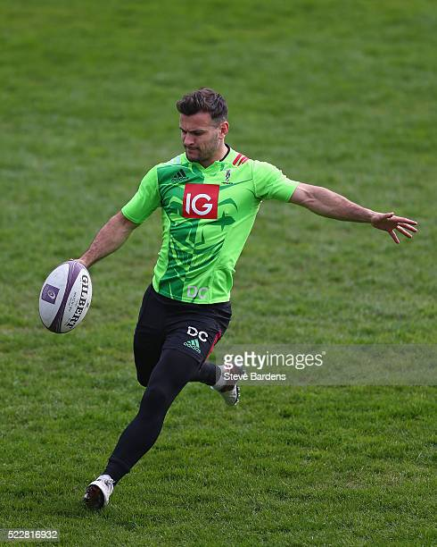 Danny Care of Harlequins practises kicking during the Harlequins captain's run at Twickenham Stoop on April 21 2016 in London England