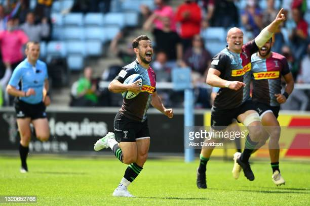 Danny Care of Harlequins reacts as he breaks away before scoring his side's second try during the Gallagher Premiership Rugby match between...