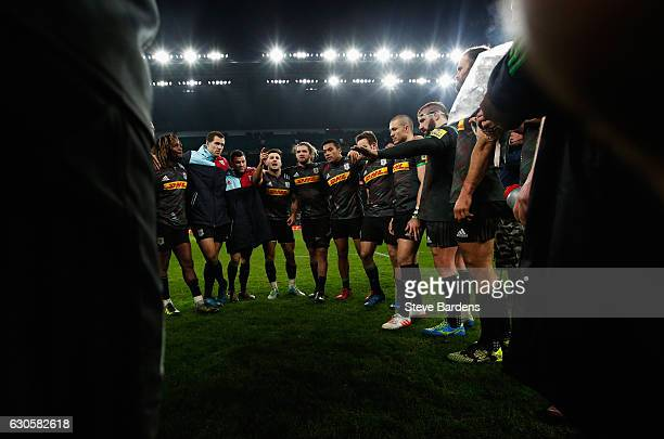Danny Care of Harlequins talks to team mates after victory during the Aviva Premiership Big Game 9 match between Harlequins and Gloucester Rugby at...