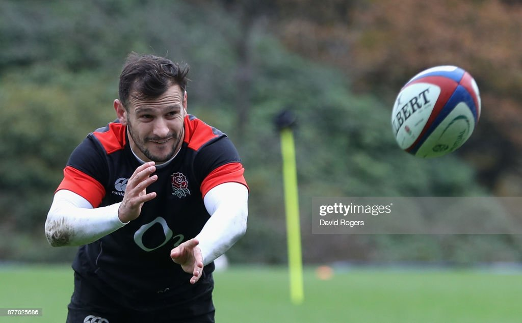 Danny Care passes the ball during the England training session held at Pennyhill Park on November 21, 2017 in Bagshot, England.