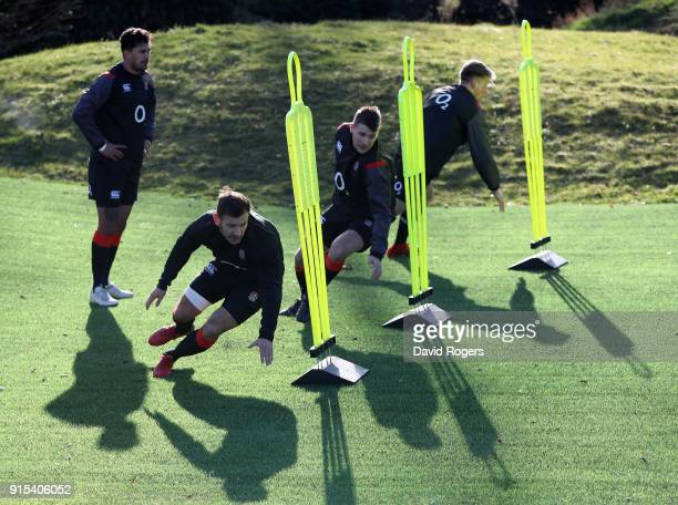 Danny Care Richard Wigglesworth and Harry Mallinder take part in sprint training during the England training session held at Pennyhill Park on...