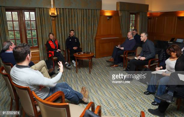 Danny Care speaks to the media during an England press conference at Pennyhill Park on January 30 2018 in Bagshot England