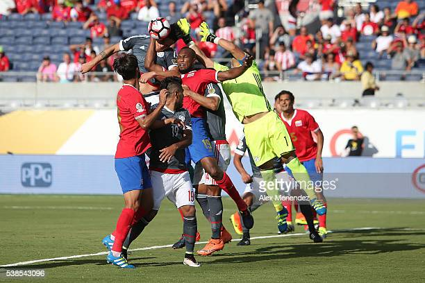 Danny Carvajal of Costa Rica makes a save during the 2016 Copa America Centenario Group A match between Costa Rica and Paraguay at Camping World...