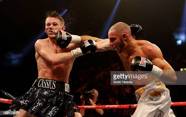 Danny Cassius Connor in action with Chris Evangelou during their Southern Area Light Welterweight Championship bout at Wembley Arena on March 9 2013...