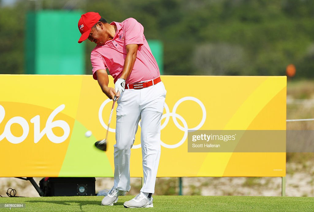 Danny Chia of Malaysia hits a tee shot during a practice round on Day 4 of the Rio 2016 Olympic Games at Olympic Golf Course on August 9, 2016 in Rio de Janeiro, Brazil.