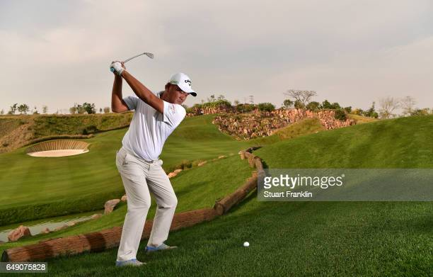Danny Chia of Malaysia plays on the 17th hole during practice prior to the start of the Hero Indian Open at Dlf Golf and Country Club on March 7 2017...