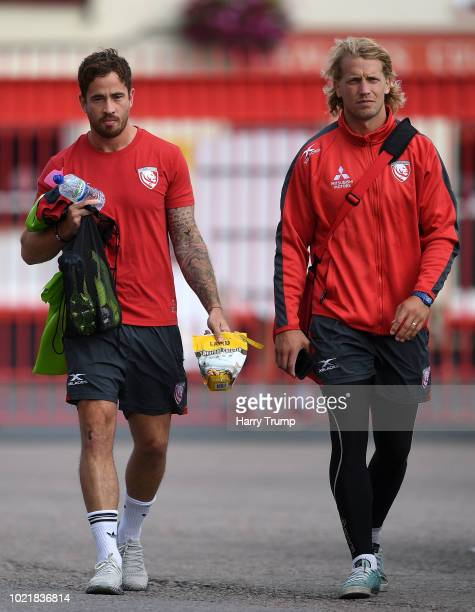 Danny Cipriani and Billy Twelvetress of Gloucester Rugby arrive during the Pre Season Friendly match between Gloucester Rugby and Dragons at...