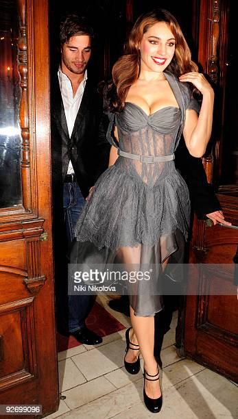 """Danny Cipriani and Kelly Brook are seen departing opening night of """"Calendar Girls"""" on November 3, 2009 in London, England."""