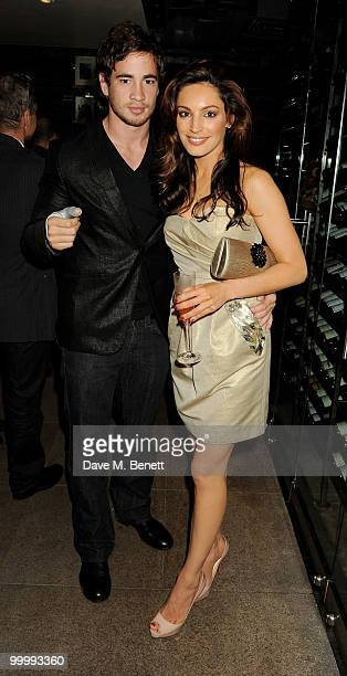 Danny Cipriani and Kelly Brook (R) attend the after launch party for the opening of TopShop's Knightsbridge store at Zuma on May 19, 2010 in London, England.