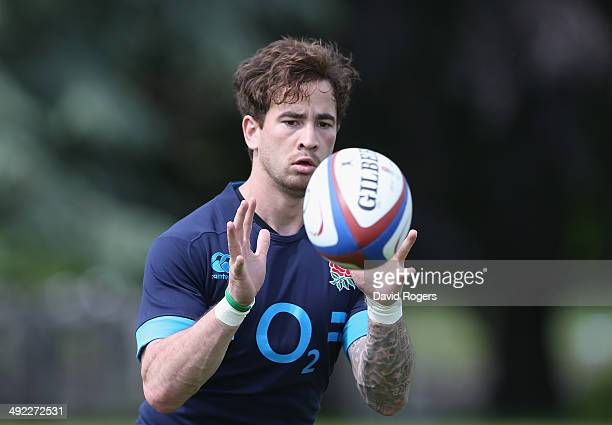 Danny Cipriani catches the ball during the England training session held at the Lensbury Club on May 19 2014 in Teddington England