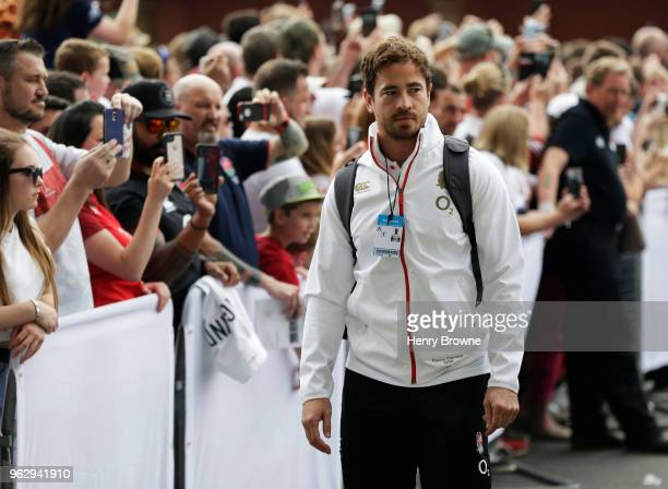 Danny Cipriani of England arrives before the Quilter Cup match between England and Barbarians at Twickenham Stadium on May 27 2018 in London England