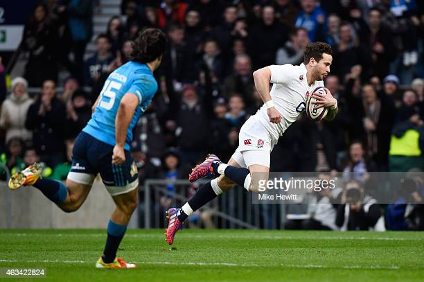 Danny Cipriani of England goes over to score his try during the RBS Six Nations match between England and Italy at Twickenham Stadium on February 14...