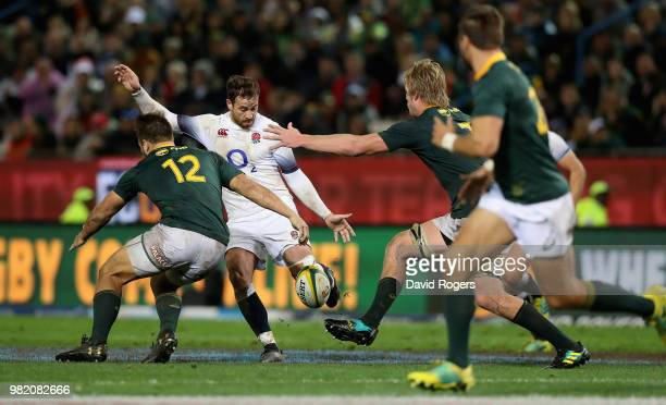 Danny Cipriani of England kicks the ball to the corner to set up a try for Jonny May during the third test match between South Africa and England at...