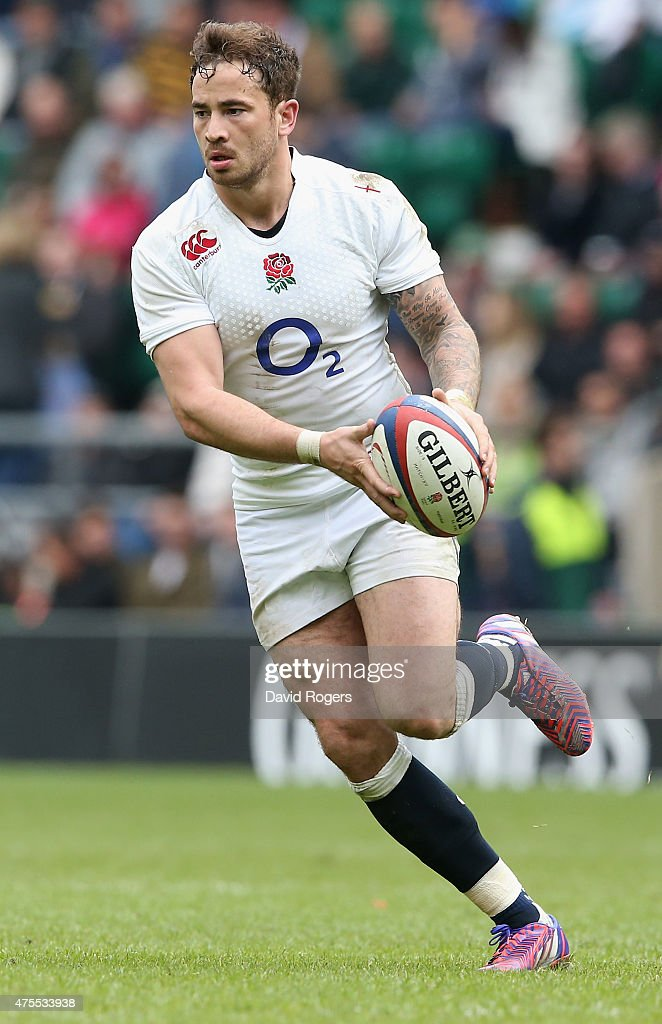 Danny Cipriani of England runs with the ball during the Rugby Union International match between England and the Barbarians at Twickenham Stadium on May 31, 2015 in London, England.