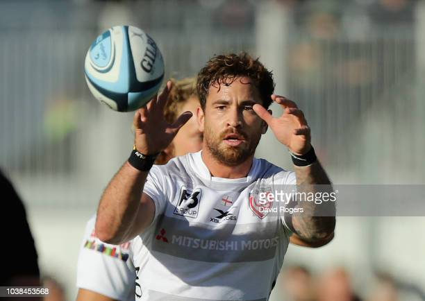 Danny Cipriani of Gloucester catches the ball during the Gallagher Premiership Rugby match between Saracens and Gloucester Rugby at Allianz Park on...
