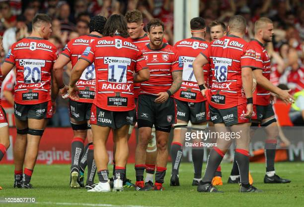 Danny Cipriani of Gloucester celebrates with team mates after their victory in the Gallagher Premiership Rugby match between Gloucester Rugby and...