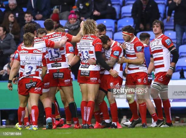 Danny Cipriani of Gloucester is congratulated after setting up the try of Ollie Thorley during the Gallagher Premiership Rugby match between London...