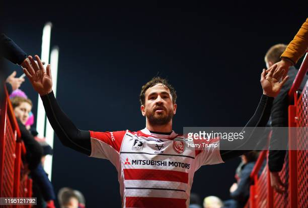 Danny Cipriani of Gloucester Rugby celebrates at the final whistle during the Gallagher Premiership Rugby match between Gloucester Rugby and...