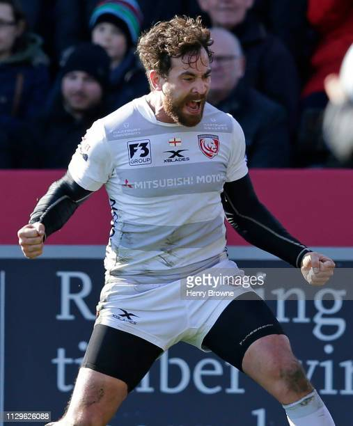 Danny Cipriani of Gloucester Rugby celebrates scoring his sides fourth try during the Gallagher Premiership Rugby match between Harlequins and...