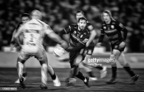 Danny Cipriani of Gloucester Rugby looks for a pass during the Gallagher Premiership Rugby match between Gloucester Rugby and Exeter Chiefs at...