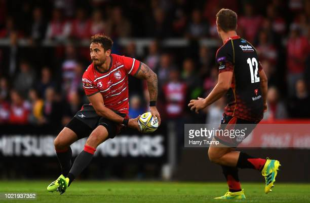Danny Cipriani of Gloucester Rugby looks for a pass during the Pre Season Friendly match between Gloucester Rugby and Dragons at Kingsholm Stadium on...