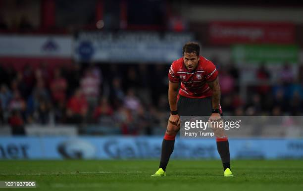 Danny Cipriani of Gloucester Rugby looks on during the Pre Season Friendly match between Gloucester Rugby and Dragons at Kingsholm Stadium on August...