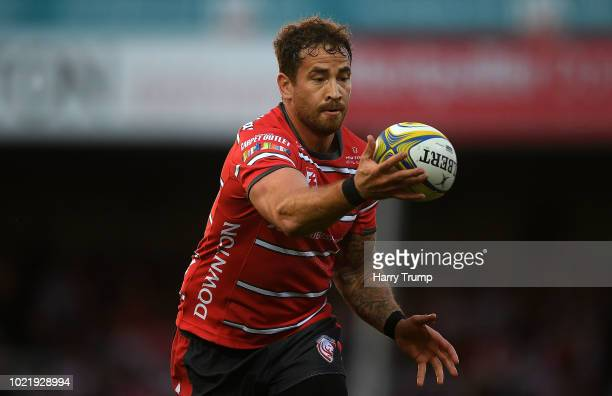Danny Cipriani of Gloucester Rugby makes a pass during the Pre Season Friendly match between Gloucester Rugby and Dragons at Kingsholm Stadium on...