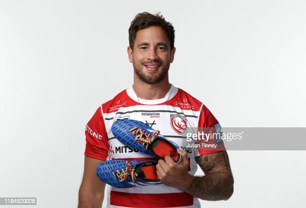 Danny Cipriani of Gloucester Rugby poses poses for a portrait with rainbow laces on his boots in support of the Stonewall Rainbow Laces Campaign...