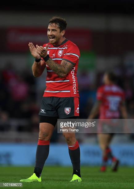 Danny Cipriani of Gloucester Rugby reacts during the Pre Season Friendly match between Gloucester Rugby and Dragons at Kingsholm Stadium on August 23...