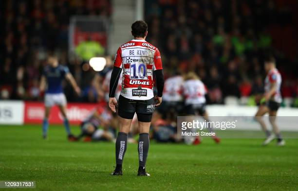 Danny Cipriani of Gloucester Rugbyis pictured wearing a shirt with the words Be Kind on the back as a tribute to Caroline Flack during the the...